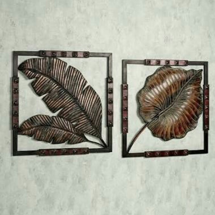 wall decor tembaga motif daun