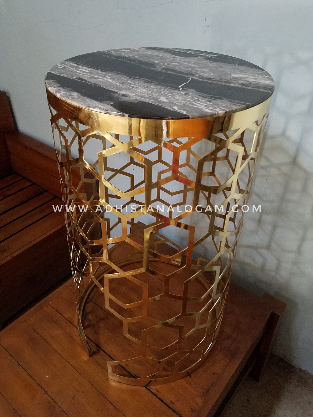 Side Table Laser Cut Top Marble