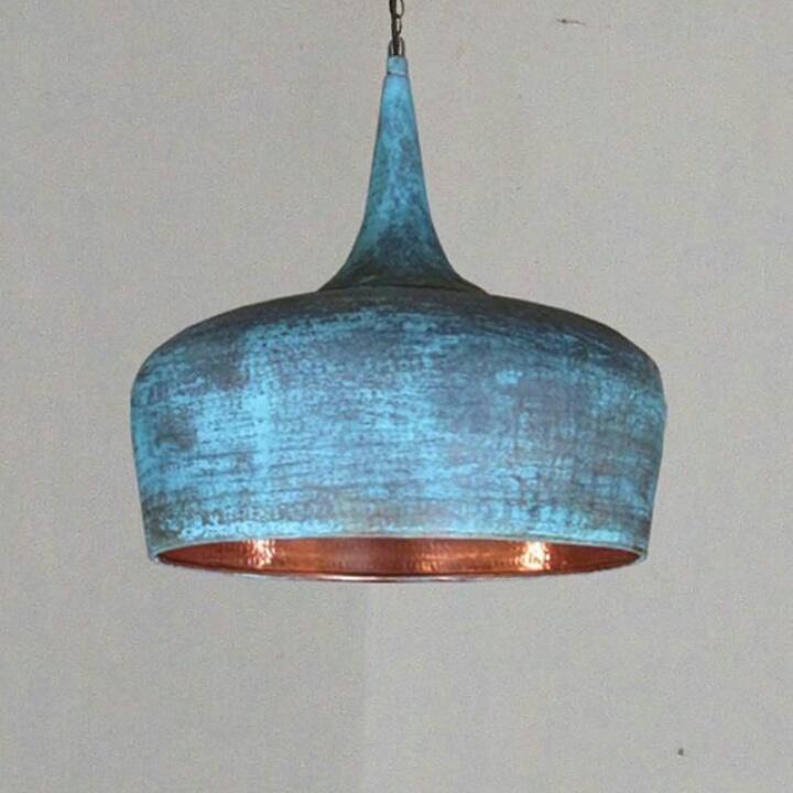 Lampu Tembaga Finish Green Oxide